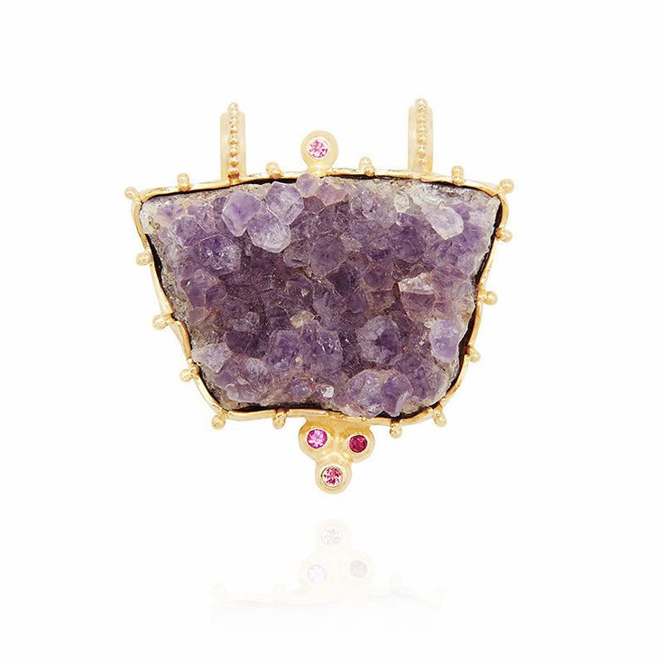 Raw Amethyst Pendant – Kate McCoy | This statement pendant features a beautiful piece of raw amethyst gemstone. | Set in sterling silver and finished in 18 karat yellow gold vermeil and suspended from a luxurious silk cord. The cord is available in two colours: marine teal and graphite. #Amethyst #Jewelry #Jewellery #Necklace #WomenFashion #Lifestyle #Milestone