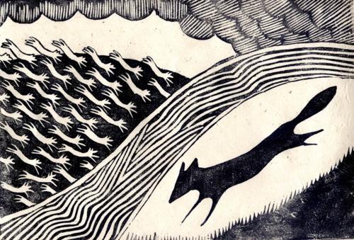 Lino print.  I love foxes.