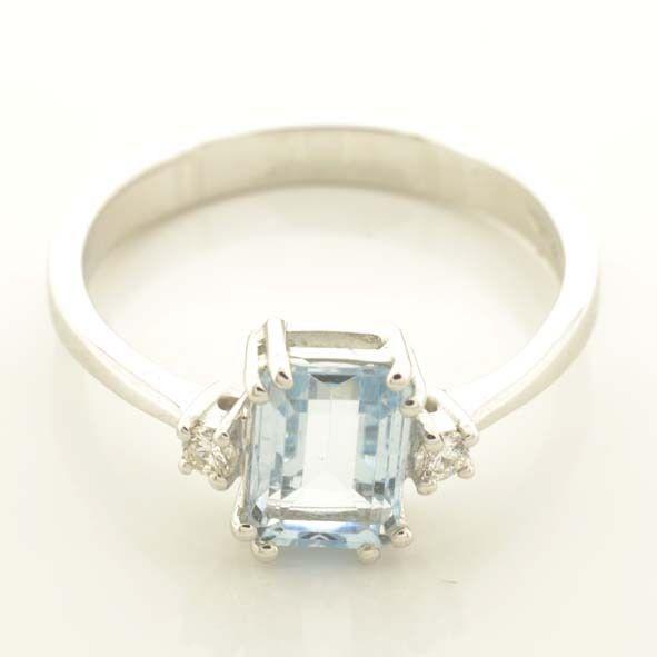 Anello Oro 18 kt Con Acquamarina Naturale e Diamanti