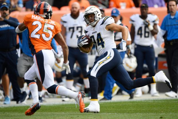 Chargers vs. Broncos:  October 30, 2016  -  27-19, Broncos  -        Derek Watt (34) of the San Diego Chargers makes a long pass reception as Chris Harris (25) of the Denver Broncos closes in during the first quarter on Sunday, October 30, 2016. The Denver Broncos hosted the San Diego Chargers. (Photo by John Leyba/The Denver Post)