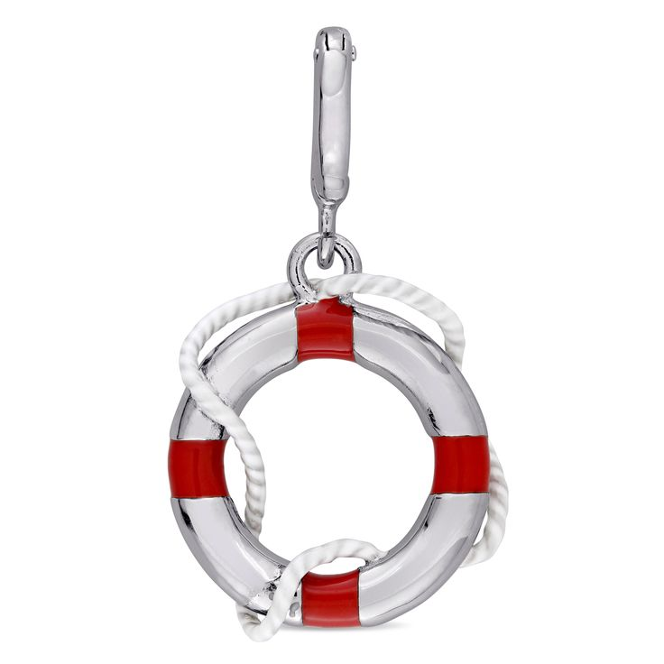 Laura Ashley Sterling Silver Lifebuoy Charm with and White Enamel, Women's