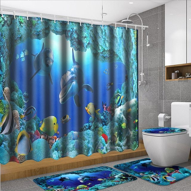 180x180cm Shower Curtain 4pcs Set Bath Mat Ocean Dolphin Deep Sea