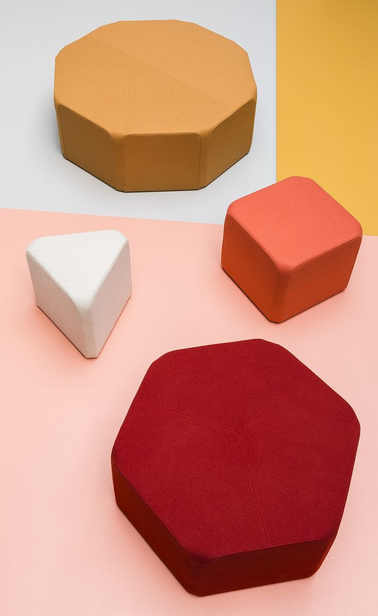 x40 is a family of four #pouffes with polygonal bases. The seats have been designed on triangular, square, hexagonal and octagonal plans. The element shared by all the solids is a rectangle with rounded corners, 40 cm in width. Thanks to identical sides, the pouffes can be placed in a variety of arrangements. Based on this distinctive repetitive quality and the broad range of Noti fabric colours, users are able to try out a variety of arrangement possibilities.