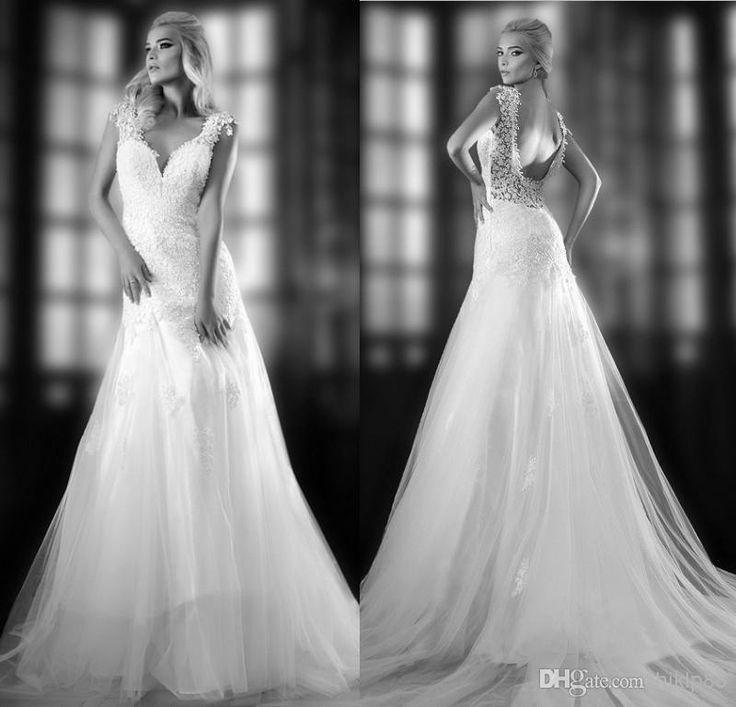 Wholesale A-Line Wedding Dresses - Buy V Neck Backless Lace A Line Wedding Dresses 2014 Sleeveless Sweep Train Beach Bridal Gowns/dress, $124.61 | DHgate.com