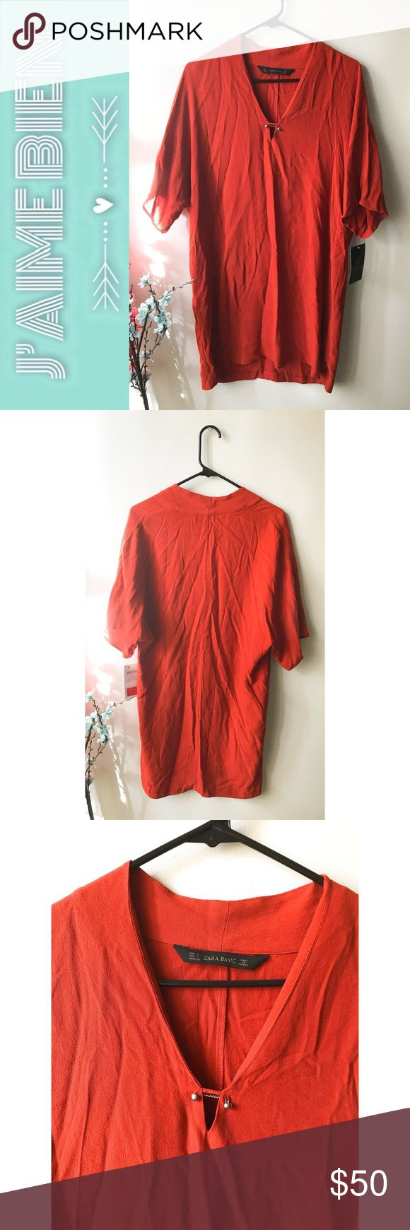 🍊NWT Zara Basic Burnt Orange Shirt Dress This basic shirt dress is the perfect wardrobe staple! Pair it with a belt, wide brim hat, and turquoise jewelry for a boho look! This item is in BRAND NEW, unworn condition with original tags still attached. The tag lists this item as a size small, but the fit is oversized and may require belting or cinching at the waist.✨  -Dress: 100% viscose Zara Dresses Mini