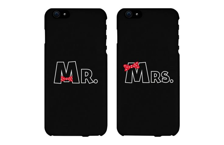 Mr and Mrs Bow Tie Matching Couple Phone Cases for iPhone 4, iPhone 4S, iPhone 5S, iPhone 5C, iPhone 6, iPhone 6 Plus, Galaxy S3, Galaxy S4, Galaxy S5, HTC M8, and LG G3