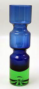 Blue and green art glass vase designed by Bo Borgstrom for Aseda, Sweden