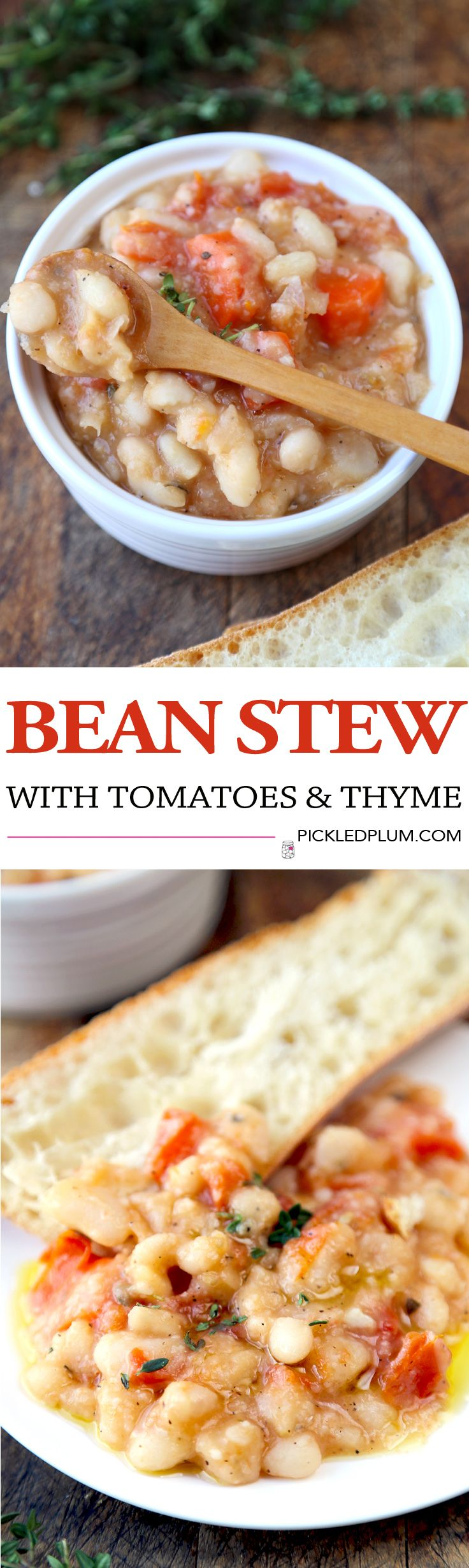 Hearty Bean Stew with Tomatoes and Thyme - Healthy Comfort food perfect for the holiday season! Total prep time: 5 minutes. Gluten Free, Vegan | pickledplum.com