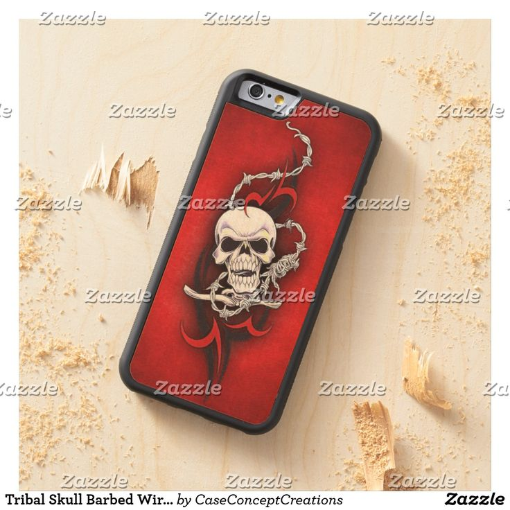 Tribal Skull Barbed Wire Red Grunge Tattoo Carved Maple iPhone 6 Bumper Case