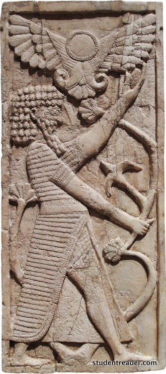 Fort Shalmaneser, Rm SW 7. Panel w/a male figure grasping a tree; winged sun disc above, ivory. Neo-Assyrian Period, Syrian Style, ca  8th c. BC