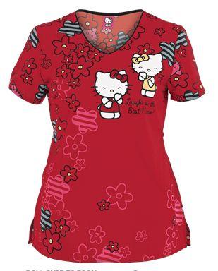 MedicalCareerSite.com  Cherokee Tooniforms Hello Kitty Laughs Print Scrub  --------Follow Best Nursing Uniforms:   https://www.pinterest.com/medicalcareer/best-nursing-uniforms/