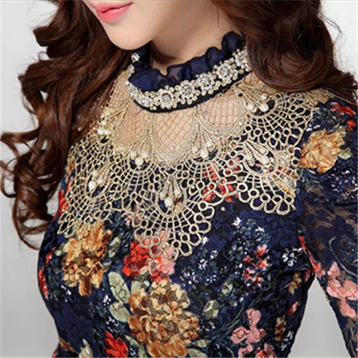 NEW 2017 Women Floral Lace fashion casual girl blouse Diamond beaded lace shirt women clothes Plus size lace Tops