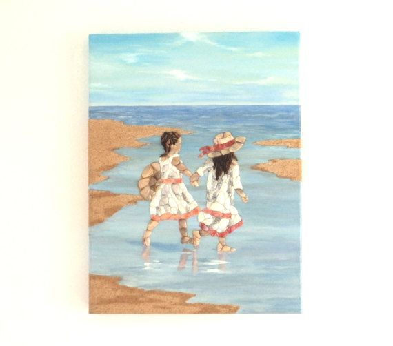 Acrylic Painting, Beach Artwork with Seashells & Sand, Girls on the Beach in Seashell Mosaic and Sand, Mosaic Art, 3D Art Collage, Home Decor, Wall Decor #ArtworkwithSeashells #mosaiccollage #seashellmosaic #homedecor #walldecor #3D