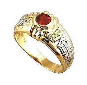 Anel de formatura marketing  Anel em ouro 18k 750 1 pedra vermelha semi preciosa
