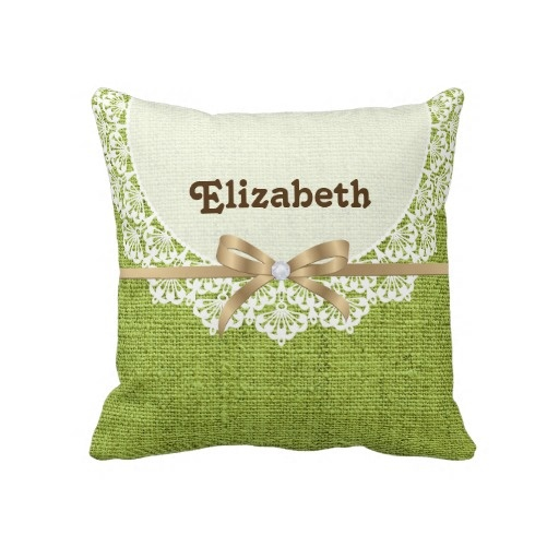White doily with lace lime green colored burlap throw pillow.