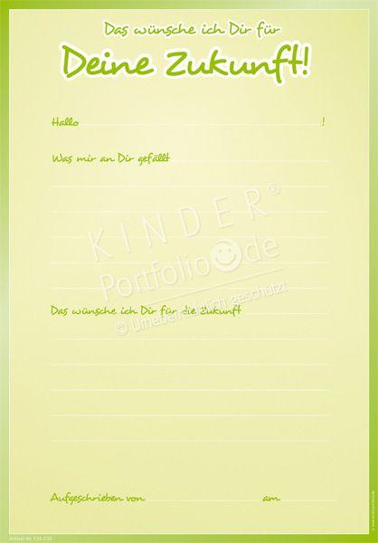"""Kindergarten Portfolio Vorlage """"Das wünsche ich Dir"""""""