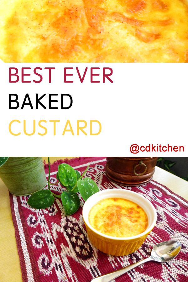 Making custard sounds complicated but it really isn't, especially with this practically foolproof recipe. Unlike stovetop custard which is more pudding-like, this baked version comes out more firm without being overly eggy. | CDKitchen.com