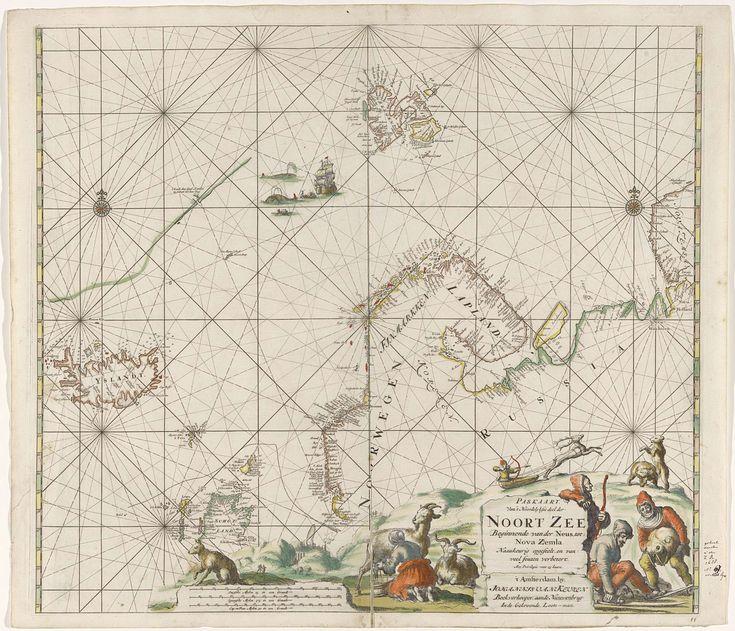 Jan Luyken | Paskaart van een deel van de Noordelijke IJszee, Jan Luyken, Johannes van Keulen (I), unknown, 1681 - 1799 | Paskaart van Noordelijk deel van Atlantische Oceaan met Noordelijke IJszee, Noordzee en Oostzee, vanaf de kust van IJsland tot en met Nova Zembla. Met twee kompasrozen, het Noorden ligt boven. Rechtsonder een rotsachtig landschap met een man op ski's, een man met de kop van een walrus en een vrouw die een geit melkt. Op de achtergrond richt een man in een slede…