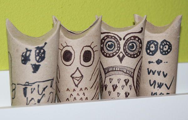 DIY toilet paper roll owls - kids crafts / selbstgemachte Eulen aus Toilettenpapier-Rollen - Basteln mit Kindern