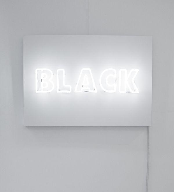 System by Rojo FUTURO, White neon light on white wood panel, 70cm x 100cm, 2012