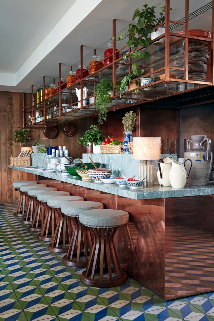 Bert & May, Petrol Otura Tiles - Soho House Berlin. Click the image for more information on these design led tiles.