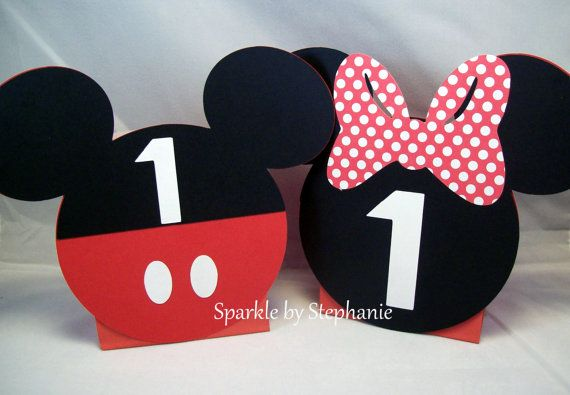 Mickey Mouse & Minnie Mouse Centerpiece Balloon Holders - Set of 4+ (2+ of each) - Customized with Childs Age
