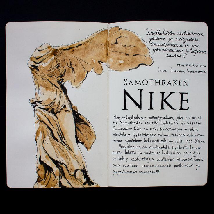 From sketchbook of Petri Fills #sketchbook #drawing #Samothrake #Nike #taidehistoria