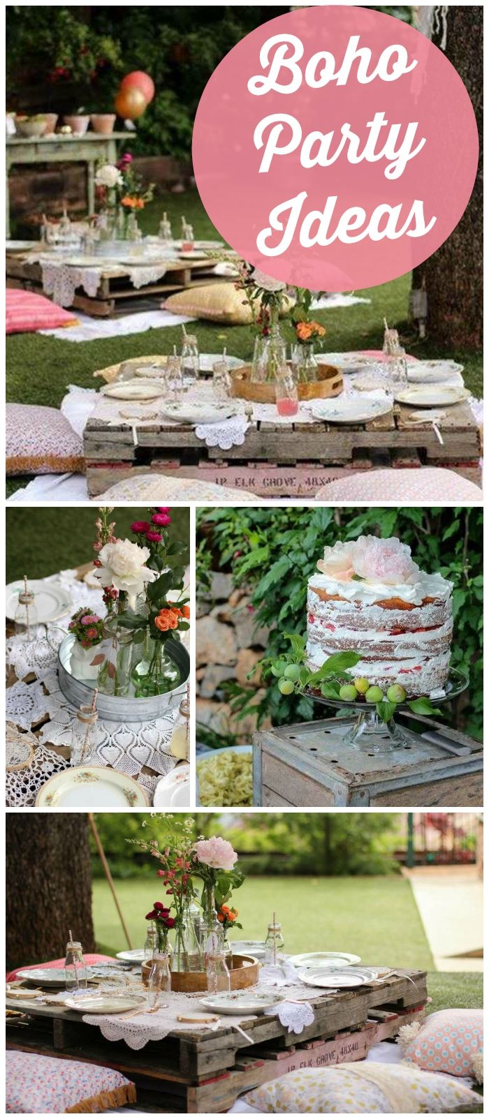 How awesome is this boho chic party with wildflowers and mason jar terrariums! See more party ideas at CatchMyParty.com!