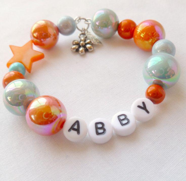 Little Girls Bracelet Custom Flower Charm Orange & Blue. $14.00, via Etsy.  #little girl gift #girls jewelry #custom jewelry