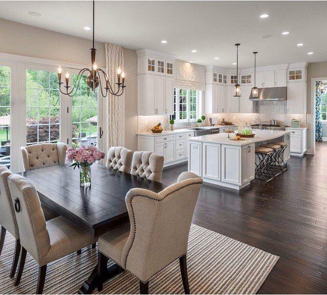 Beautiful Kitchen Love The Chairs Dark Vs White Woods Everything Whitekitchendes Open Concept Kitchen Living Room Home Decor Kitchen Kitchen Design Trends