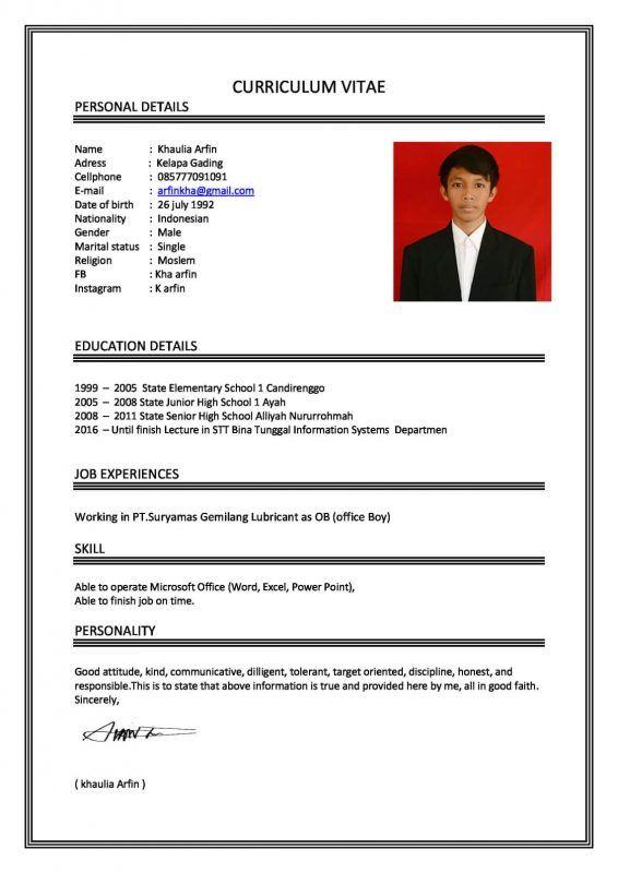 Contoh Cv Application Letters Pinterest Application Letters