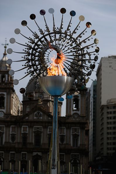 The Olympic Flame at Praca da Candelaria downtown Rio de Janeiro during the Rio 2016 Olympic Games on August 7 2016 in Rio de…