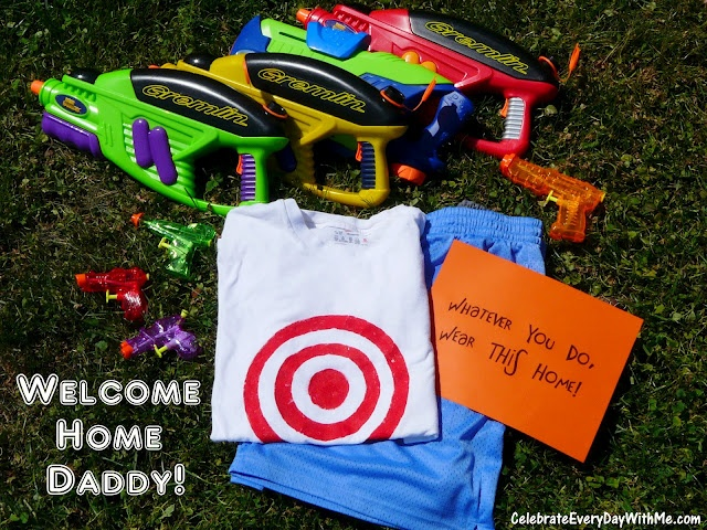 Water fight ambush to welcome daddy home.  The kids will love this!