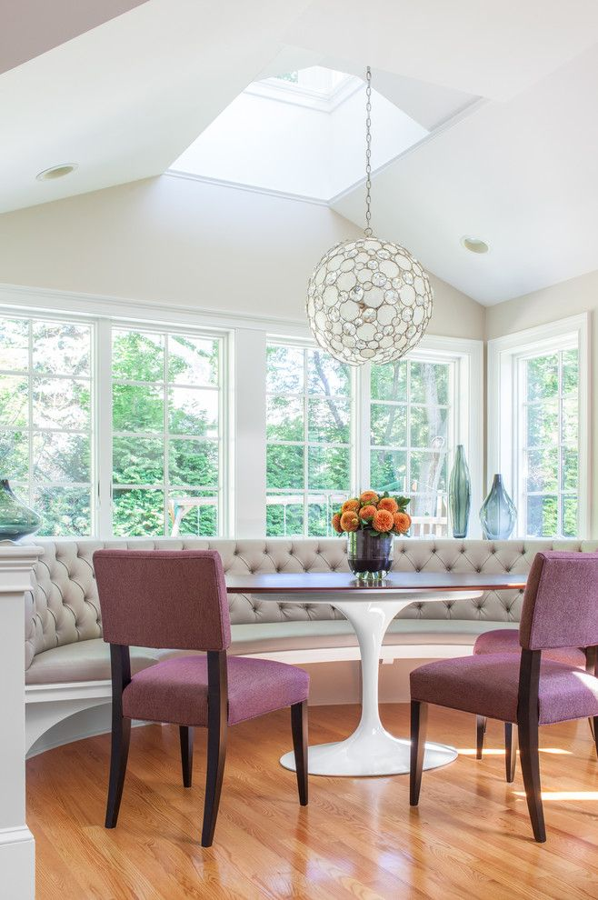Breakfast nook lighting dining room transitional with tufted bench natural…