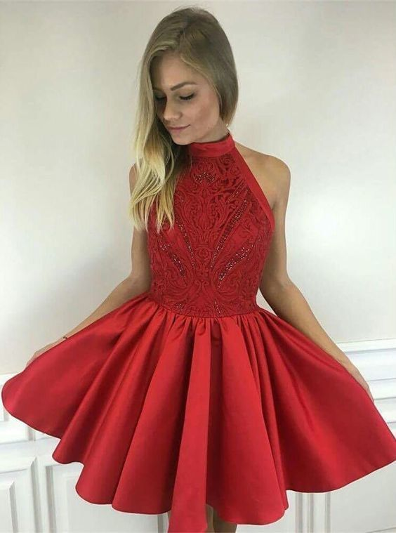 6e88fe5287 A-Line Halter Sleeveless Short Red Satin Homecoming Dress with Lace Beading