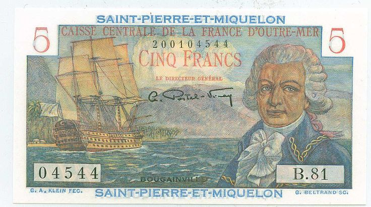 Front of 5 franc note of St.-Pierre & Miquelon (French territory east of Canada)