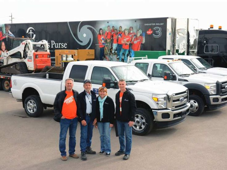 A convoy sent by Samaritan's Purse Canada and the Billy Graham Evangelistic Association of Canada is on its way to Fort McMurray to provide physical and spiritual aid to Fort McMurray residents. Convoy drivers are Harry Helm (left), John and Bev Vanmarrum, and Greg Schmidt.