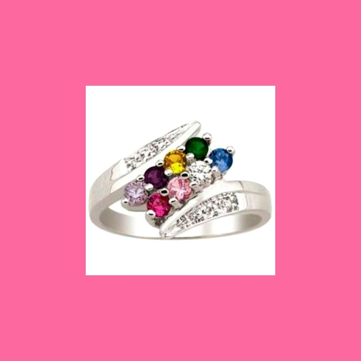 Beautiful family ring! Great for a big family. The colored stones represent the month of birth of each of the children. You can even include the parents birthstones! Everytime she looks at the ring she will be reminded of her loving family, just like she reminds you everyday that she loves you.