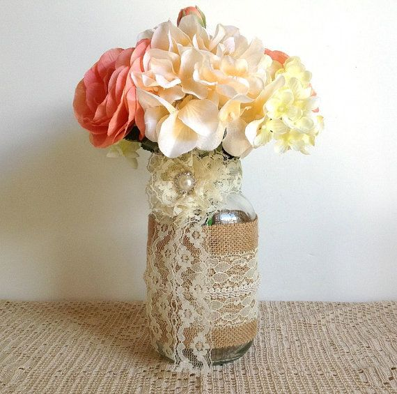 burlap and lace covered jar vases wedding or bridal shower decoration