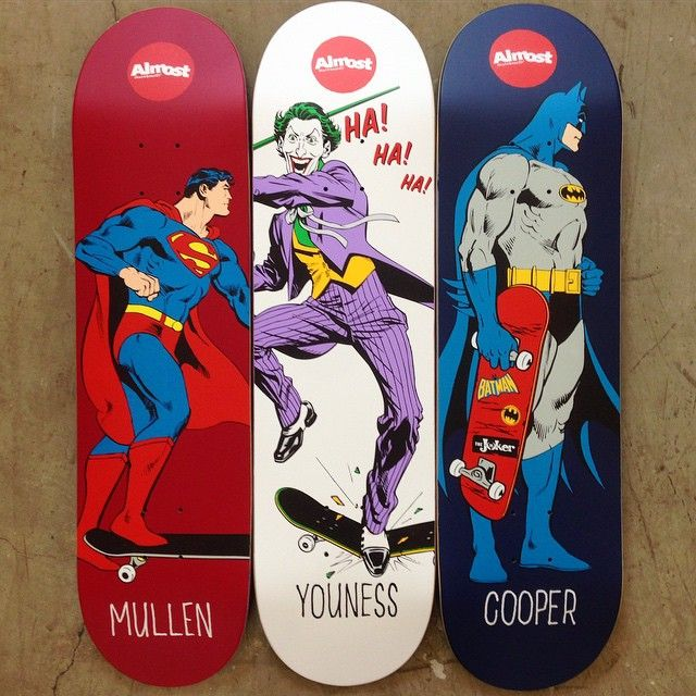 New DC Comics x Almost Skateboards collab decks now available: Mullen Super Mongo 8.0 x 31.7 x 14.25-inch wheelbase; Youness Joker Focus 8.25 x 31.7 x 14.25-inch wheelbase; Cooper Mall Grab 8.25 x 31.7 x 14.25-inch wheelbase    @rodneymullen @younessamrani @coopyskate    #AlmostDCcomics #AlmostSkateboards