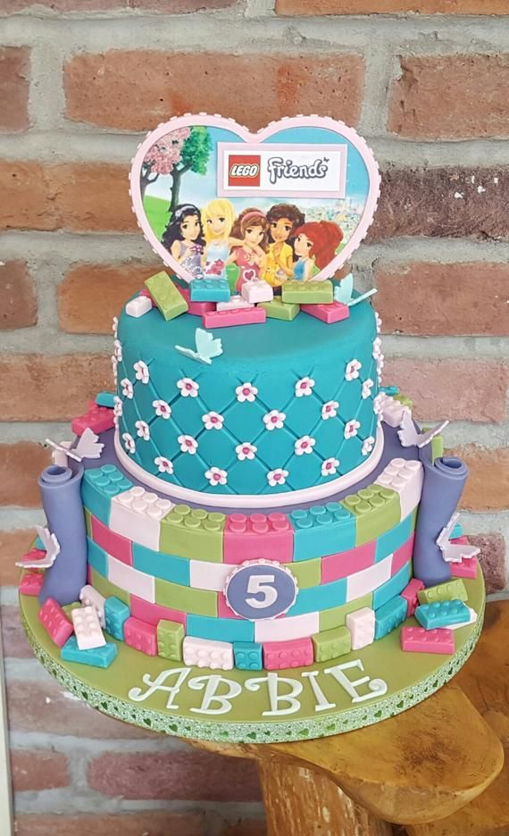 Brilliant Edible Lego Friends Bricks Unofficial Cake Toppers Cupcake Toppers Funny Birthday Cards Online Elaedamsfinfo