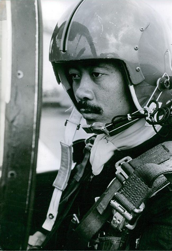 Nguyễn Cao Kỳ, chief of the Vietnam Air Force, wearing a helmet. 1965