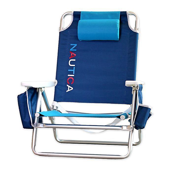 Nautica 5 Position Logo Beach Chair In Navy Bed Bath Beyond In 2020 Beach Chairs Backpack Beach Chair Beach Chair Umbrella