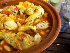 Tajine met kip, pompoen en boterbonen