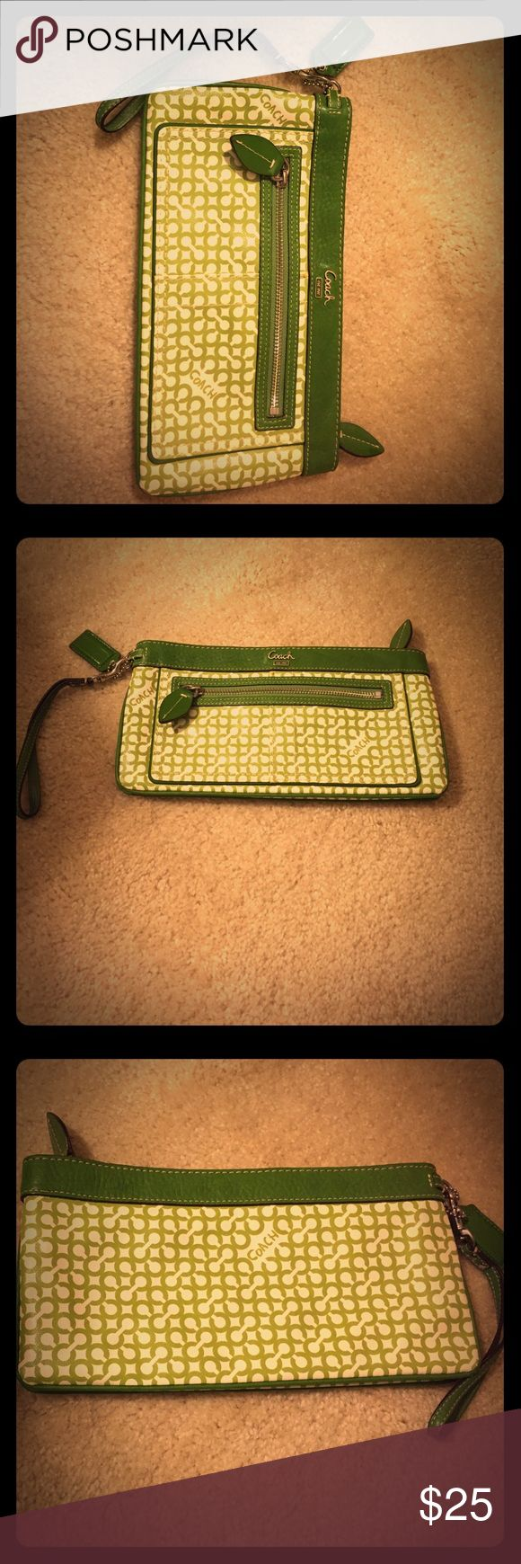 Coach clutch Adorable green and white Coach clutch (material is vinyl-like) with leaf zipper pulls. A great accessory for any outfit . Coach Bags Clutches & Wristlets