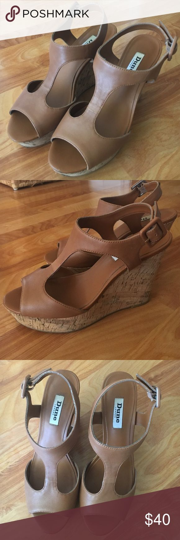 Neutral wedges Worn once! Super cute, super comfortable. Dune Shoes Wedges