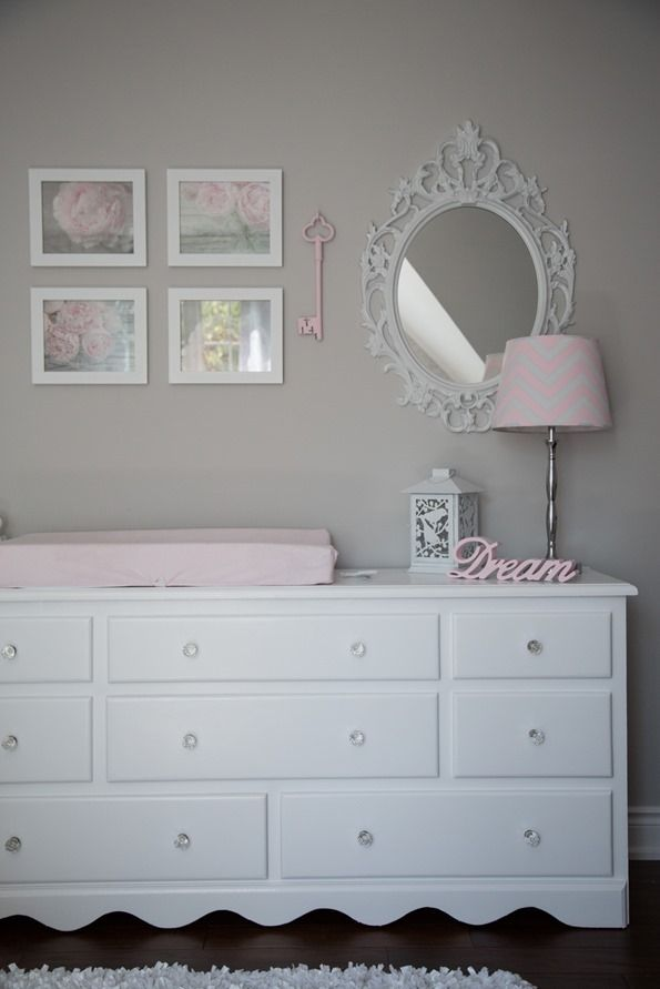 pinkwhitegraynurserybabygirl 0111   Pink and Gray Baby Girl Nursery Tour