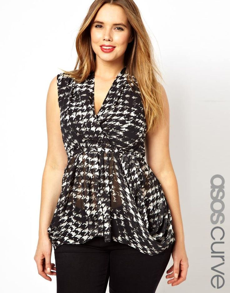ASOS curve   ASOS CURVE Exclusive Belted Wrap Top In Smudged Dogtooth Print #asoscurve #top