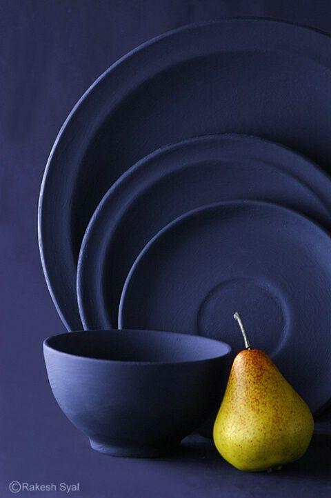 Pear and pottery by Rakesh Syal