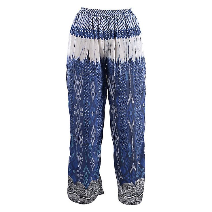 LONG TROUSERS IN WHITE-BLUE PRINT MEDIUM - Trousers-Shorts - Clothes